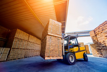 Forklift Loader Load Lumber In...