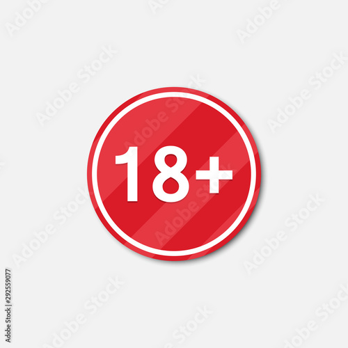 Papel de parede 18 plus age restrictions icon with shadow. Vector illustration