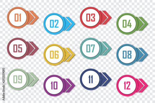 Canvas Set of number bullet point 1 to 12. Vector illustration