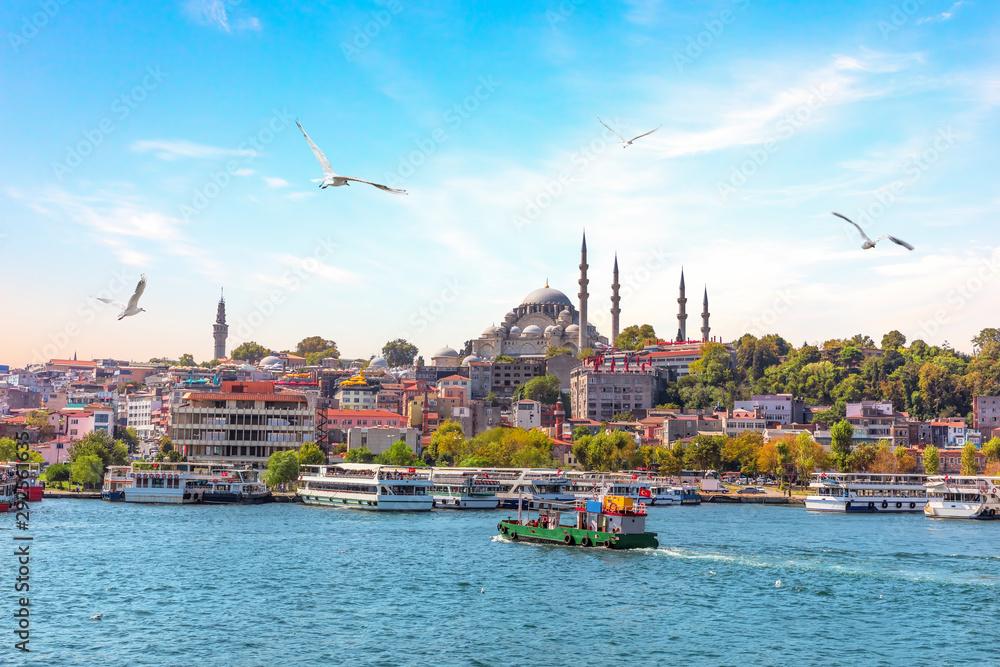 Fototapety, obrazy: Eminonu Pier and Suleymaniye Mosque in Istanbul, Turkey