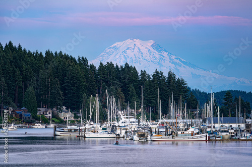 Mount Rainier Looming over Gig Harbor Washington - 292562038