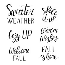 Sweater Weather, Warm Wishes, Cozy Up, Spice It Up, Fall Is Here, Welcome Fall. Set Of Hand Drawn Lettering. Vector Illustration.