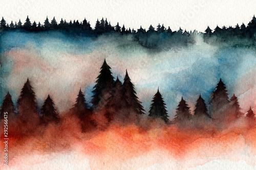 mgla-w-lesie-choinki-igly-sosny-jesien-zima-akwarela