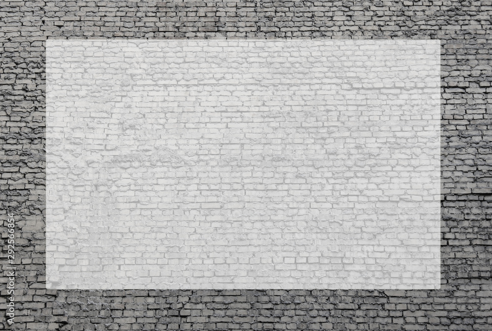 Grey brick wall template with empty transparent frame for text. Black and white filter effect design of brickwork pattern with squared copy space in the middle