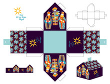 Three Biblical Kings: Caspar, Melchior And Balthazar. Three Wise Men With Gift Boxes. Feliz Dia De Reyes! (Happy Three Kings Day!) Cut Out Box Template.
