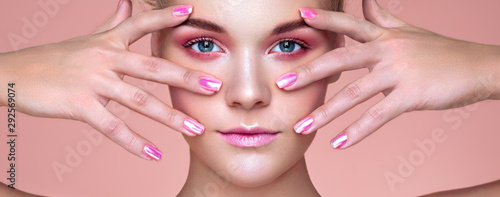 Fotografie, Obraz  Beauty Woman with perfect Makeup and Manicure