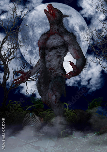 Fototapeta  Portrait of a fierce and creepy werewolf.