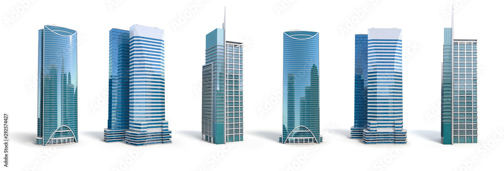 Fototapeta Different skyscraper buildings isolated on white.  Set number 2.