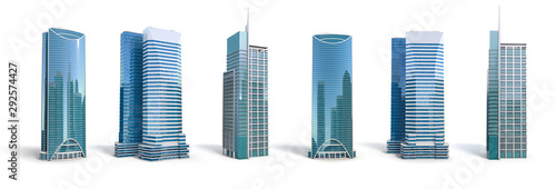Different skyscraper buildings isolated on white.  Set number 2. Fototapet