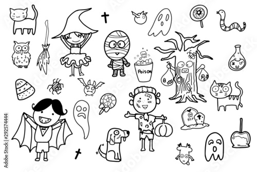 Valokuva  kawaii cute hand draw doodle art in autumn Halloween theme, children happily dr
