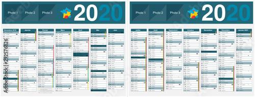 Fotografia, Obraz Calendrier 2020 14 mois avec vacances scolaires officielles au format 320 x 420