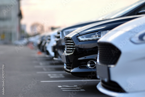 Obraz full car outdoor parking in selective focus - fototapety do salonu
