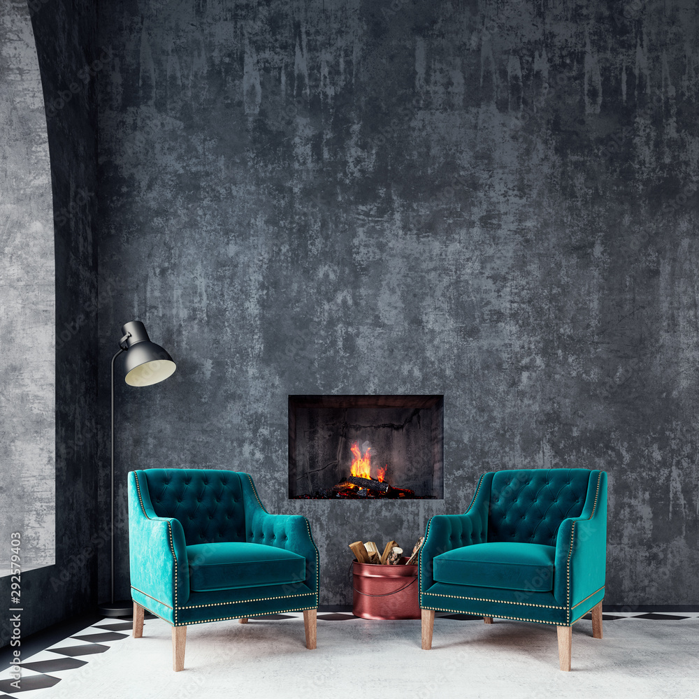 Fototapeta Modern interior design with two green armchairs and fireplace 3D Rendering