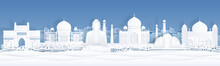 Paper Cut India. Landscape Travel Banner Template With Taj Mahal And Famous Indian Landmarks. Vector Paper Church City Panorama, Symbols World Arts And Architecture Monument