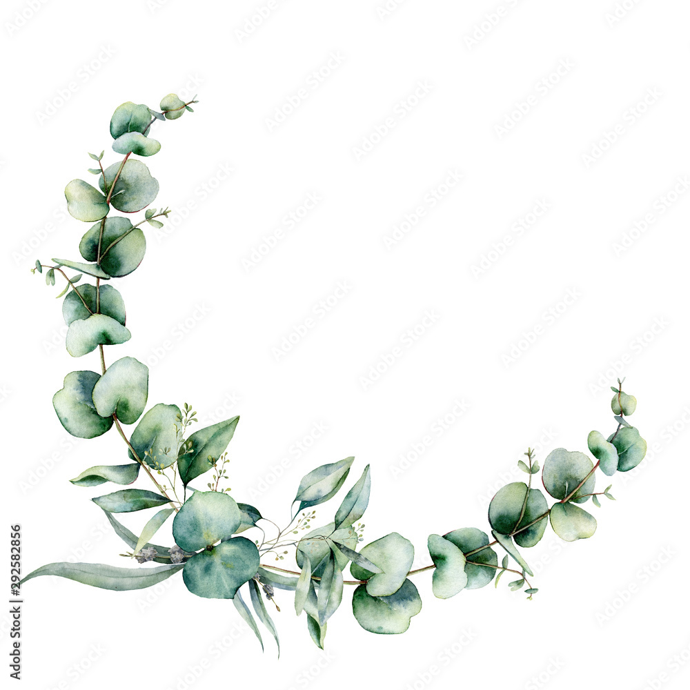Fototapeta Watercolor floral wreath with eucalyptus leaves. Hand painted illustration with branches and leaves isolated on white background. Floral illustration for design, print, fabric or background.
