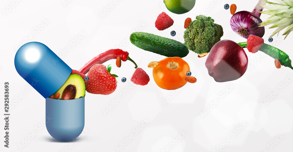 Fototapeta Vitamins pill with flying fruits on white background