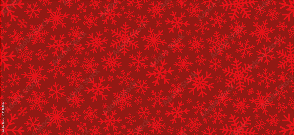 Fototapeta Red christmas background with snowflakes. Vector