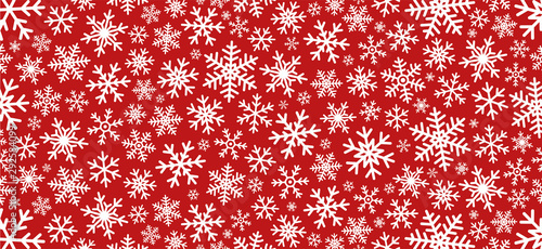 Red christmas background with snowflakes. Vector Canvas Print