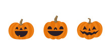 Set Of Cute Halloween Pumpkins With Funny Faces. Vector Illustration.