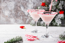 Pink Peppermint Martini With C...