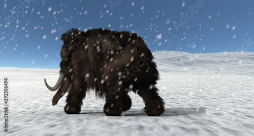 Obraz na plátně  Extremely detailed and realistic high resolution 3d illustration of a mammoth