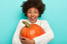 Overjoyed Afro Woman Embraces Big Squash, Smiles Broadly, Happy To Harvest Autumn Crops, Wears Knitted White Sweater, Ready For Celebrating Halloween Or Thanksgiving. Lady With Fresh Pumpkin