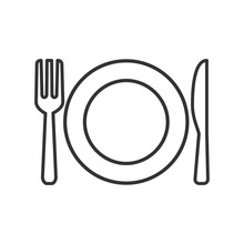 Plate, Fork And Knife Line Ico...