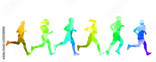 Group sportsmans run, active healthy lifestyle - stock vector