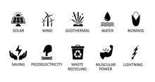 Alternative Energy Sources Icons. Renewable Energy Sign, Nature Power Symbols – Stock Vector