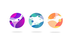 Set Of Round Abstract Icons Or...