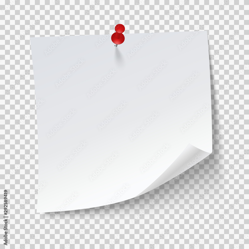 Fototapeta Blank note papers, pinned with a push pin on transparent background. Empty white page.