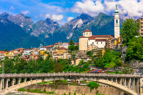 Beautiful places of northen Italy - picturesque Belluno town in Dolomites Alps mountains