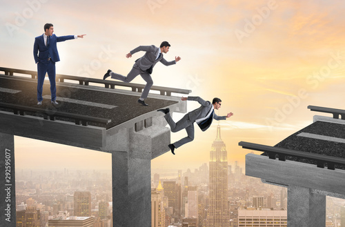 Boss businessman giving wrong instruction to team Fotobehang