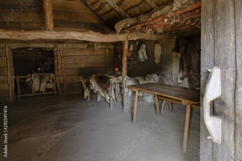 Fototapeta Reconstructed living and sleeping room in the viking village Hedeby on the inlet