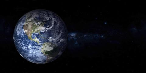 Planeta Ziemia z nocnymi światłami miasta w przestrzeni z daleką galaktyką w tle. Ameryka Północna i Południowa. Zmierzch Błękitna planeta. Fantastyka naukowa. Elementy tego obrazu zostały dostarczone przez NASA
