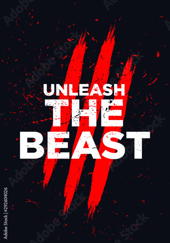 Photo unleash the beast motivational quotes vector design
