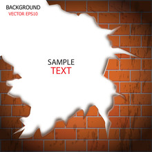 Vector Brick Wall Cracks, White Background For Text