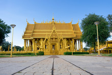 The  Beautiful Golden Church In Buddhist Temple In Thailand
