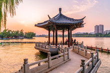 The Beautiful Landscape And Architectural Landscape Of Daming Lake In Jinan