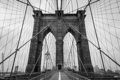 Brooklyn Bridge architecture in black and white tone, New York City