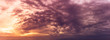 Golden hour sky and storm cloudy nature panoramic background