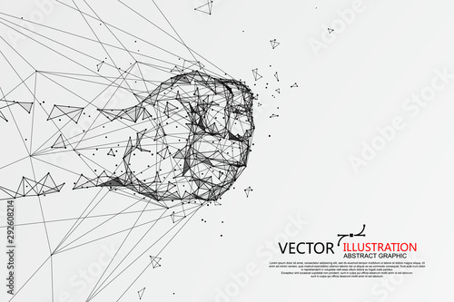 The moment when the fist hit the net, vector illustration. Fototapet