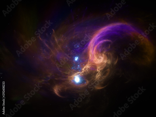 Illustration - Galaxies, Deep Space Nebula - starfield, stars and space dust scattered throughout the vast universe. Swirling cloud, burst of light, birth of stars, illustration, cosmic artwork.