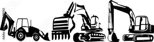 Excavator vector on color background Canvas Print