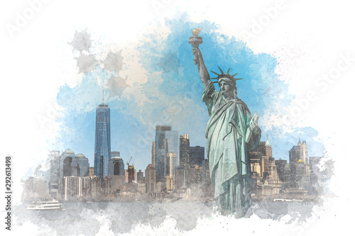Digital Watercolor The Statue of Liberty over the Scene of New York cityscape river side which location is lower manhattan,Architecture and building with tourist, illustration and art concept - 292613498