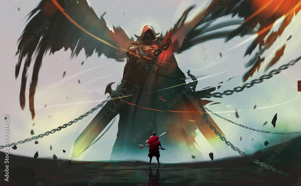 Cyfrowego ilustracyjnego malarstwa projekta styl rycerz przeciw ciemnemu aniołowi gotowemu do walki.