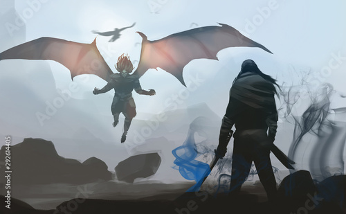 Digital illustration painting design style a samurai against last devil's boss, ready to fighting Canvas Print