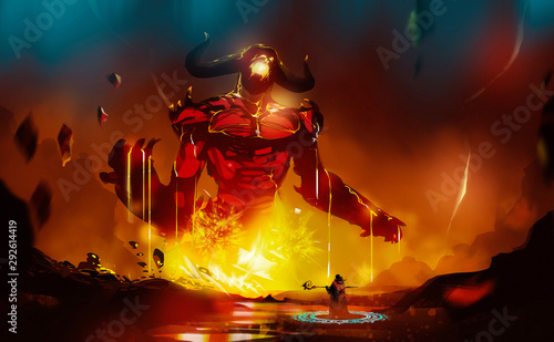 Canvas Digital illustration painting design style a wizard summoning big monster from lava