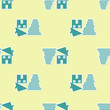 Green Tornado swirl damages house roof icon isolated seamless pattern on yellow background. Cyclone, whirlwind, storm funnel, hurricane wind icon. Vector Illustration