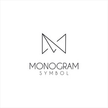 Monogram Letter M Logo With Th...